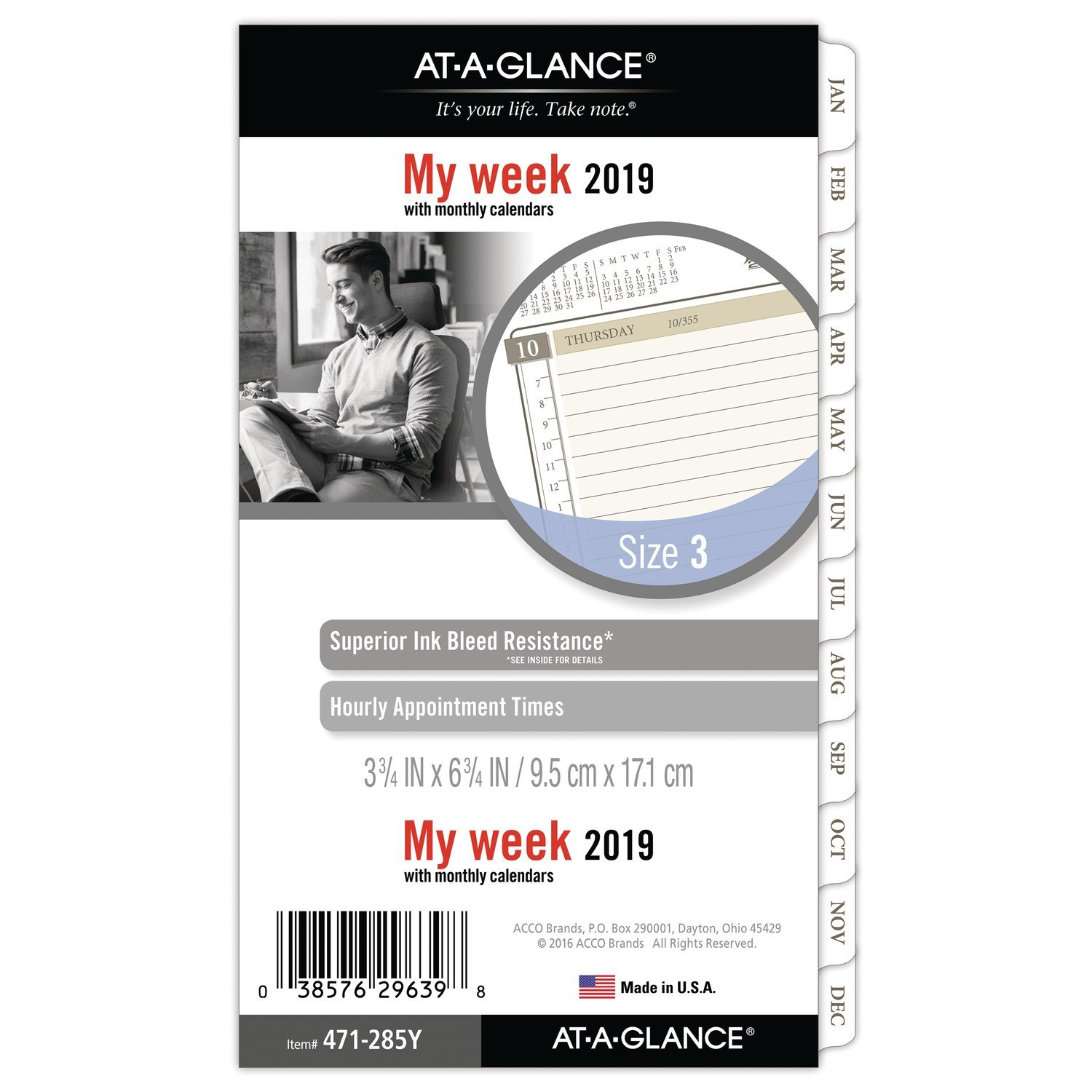 AT-A-GLANCE 2019 Weekly & Monthly Planner Refill, Day Runner , 3-3/4'' 6-3/4'', Portable Size 3, Loose Leaf (471-285Y)