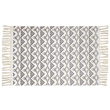 USTIDE Norbic Fringe Hand Woven Rug Gray Diamond Cotton Printed Braided Rug Washable Decorative Doormat Tassel Porch Rug 23.6 x51