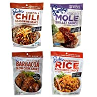 Frontera Gourmet Mexican Simmer Sauce 4 Flavor Variety Bundle, 1 Each: Chipotle Chili,