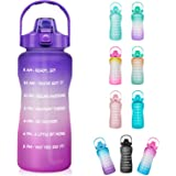 Half Gallon Motivational Water Bottle with Straw & Time Marker - 64 oz BPA Free Reusable Tritan Frosted Large Sport Water Bot