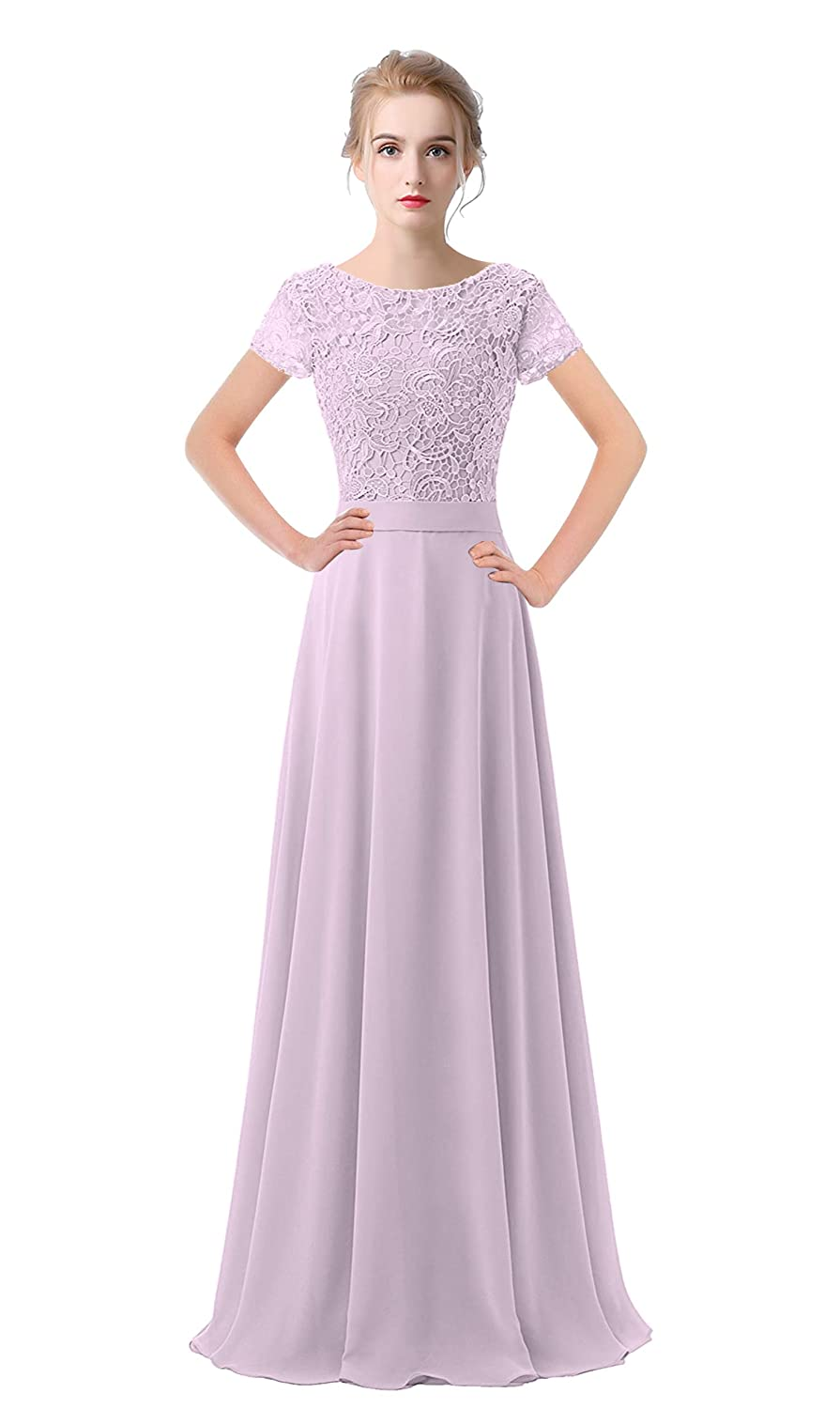 Lavender VaniaDress Women Lace Short Sleeves Long Evening Dress Prom Gown V061LF