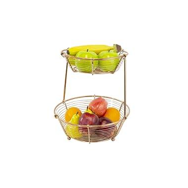 Inspired Living by Mesa Bobbin fruit-bowls, 2-Tier Basket, COPPER