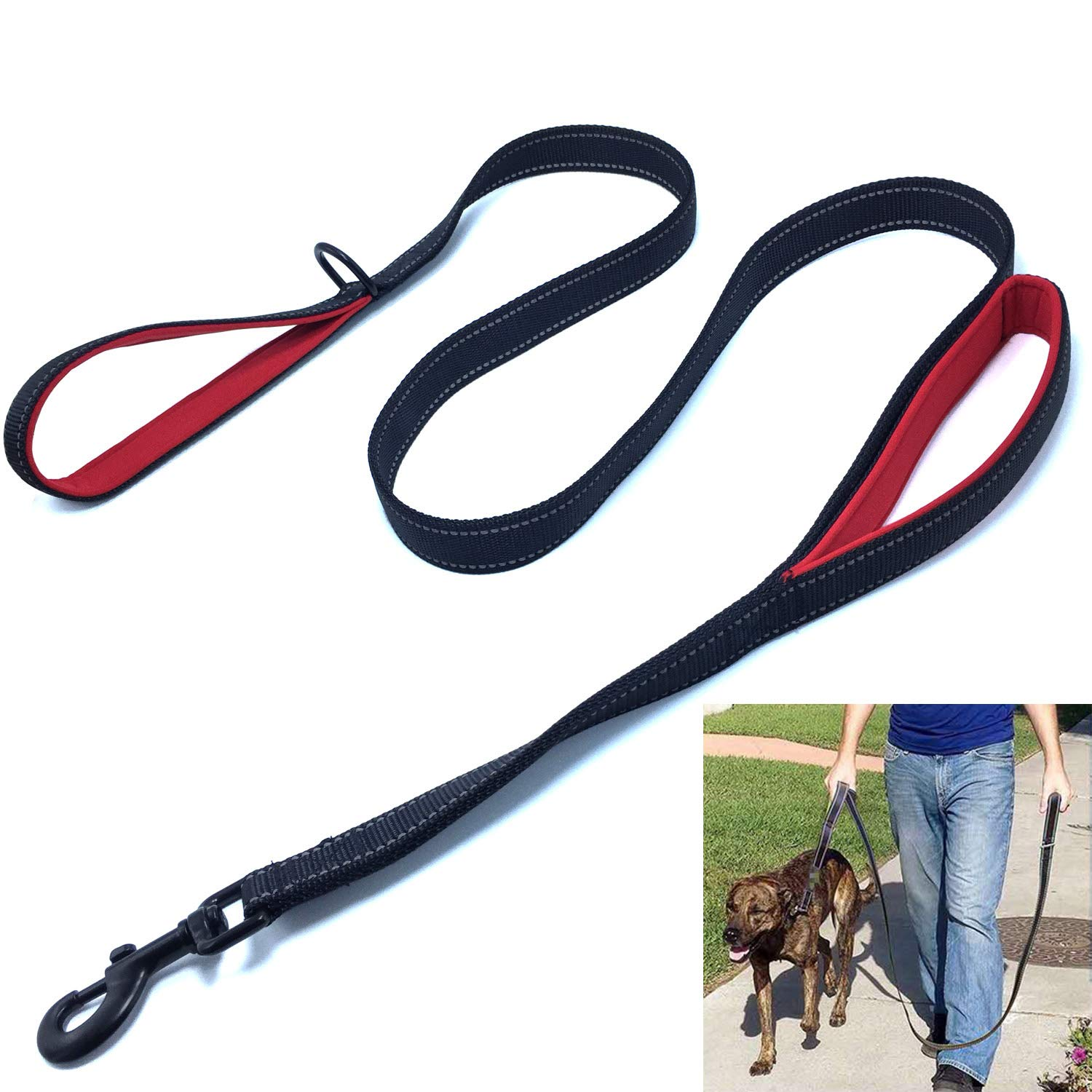 Black Red 5 ft Black Red 5 ft Yzsfirm 5 Ft Reflective Dog Leash Double Padded Soft Handles Dog Leashes 1 Inch Wide Black Red Heavy Duty Pulling Dog Leads Control Safety Training Leash for Smal Large and Medium Dogs(Black+Red)