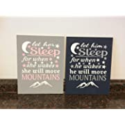 CANVASPrtint let her Sleep for When she Wakes she Will Move Mountains let him Sleep Baby Girl Nursery Pink and Gray and Navy Baby Decor