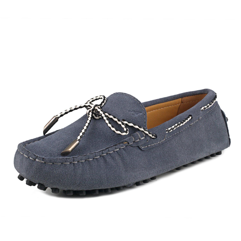 Shenduo Mokassins Leder Damen Sommer Schuhe Casual Dunkelgrau Slippers mit Binden D7051 Dunkelgrau Casual ff96fe