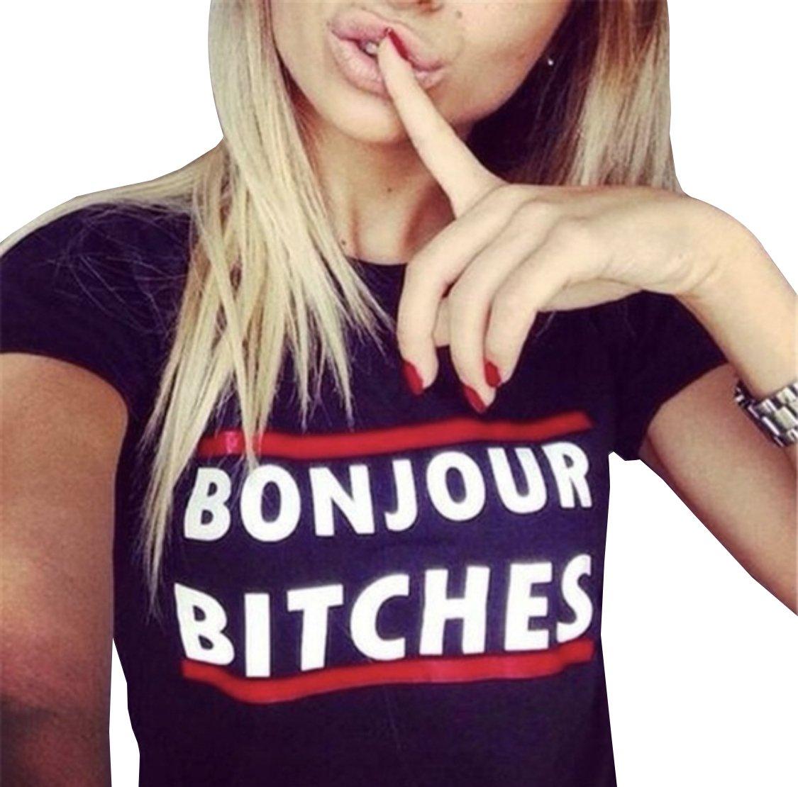 76e61d8534b6 Blackmyth Women s Graphic Funny T Shirt Cute Tops Teen Girl Tees ...