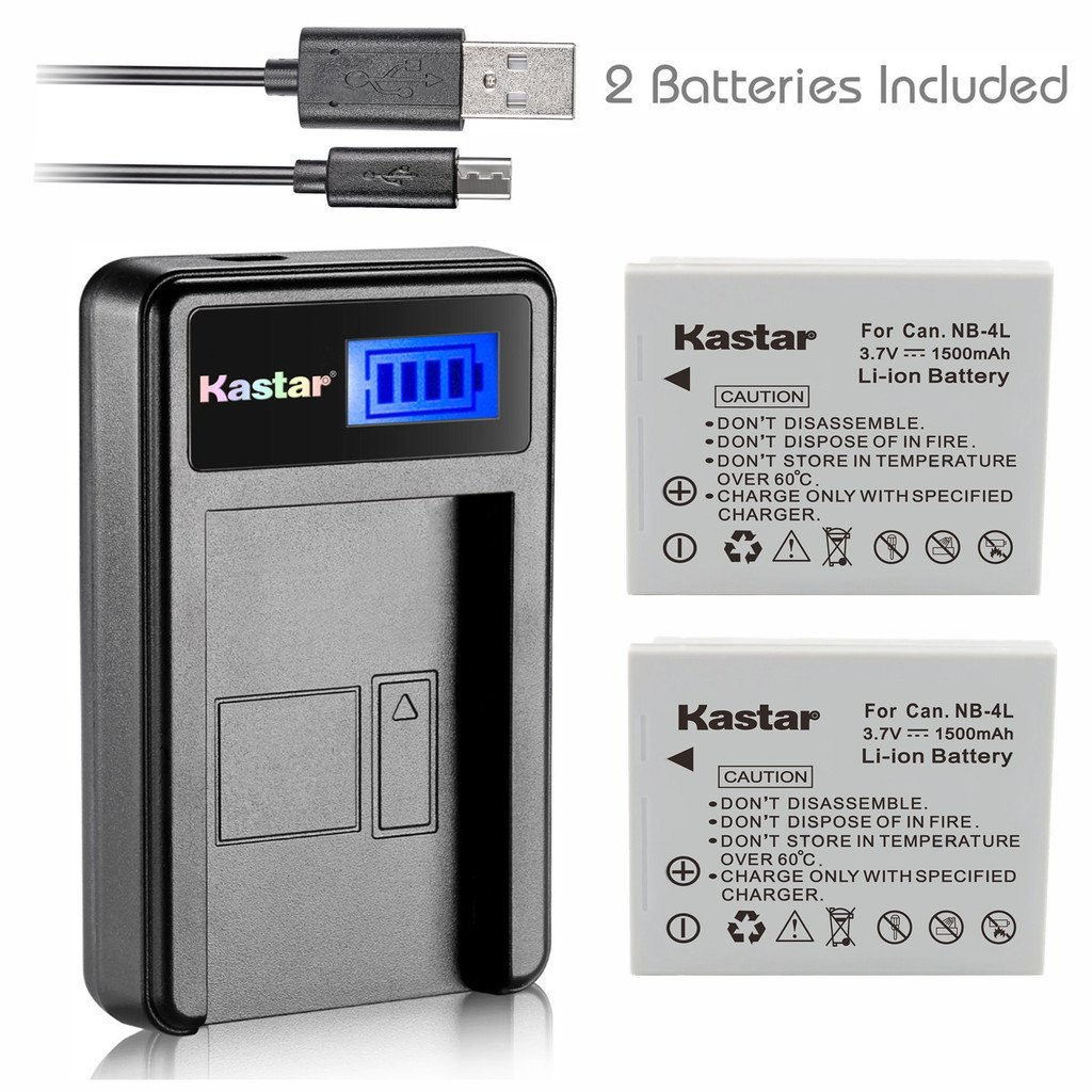 Kastar Battery (X2) & LCD Slim USB Charger for Canon NB-4L and Canon ELPH 100 HS, 300 HS, 310 HS, 330 HS, VIXIA mini, Powershot SD400, SD450, SD600, SD630, SD750, SD780, SD1000, SD1100 IS, SD1400 IS