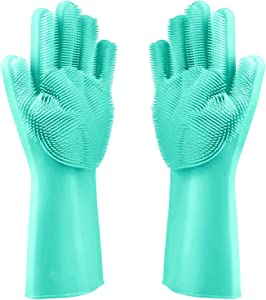 Cleaning sponge gloves, reusable silicone cleaning magic brush heat-resistant washing brush gloves for housework, dishwashing, kitchen cleaning, bathroom, bathing, pets, car washing, window cleaning (