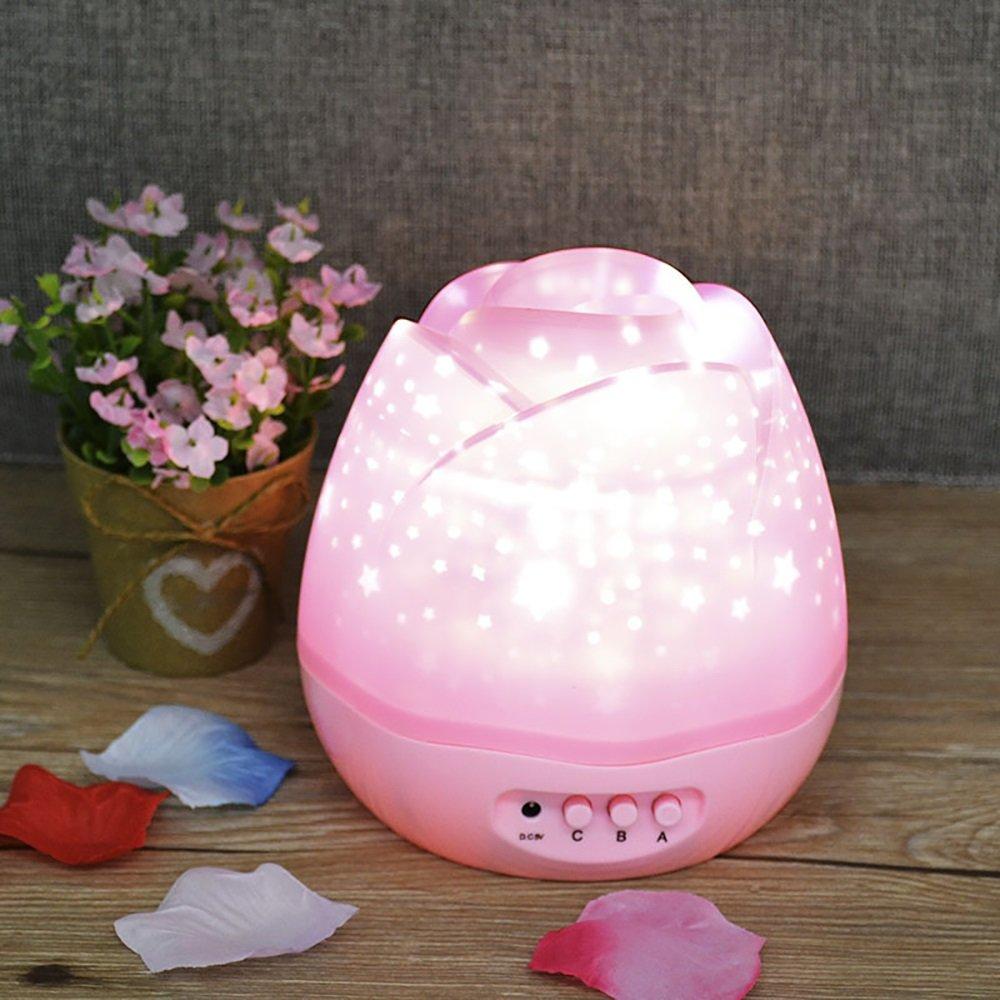 Longyu Night Light LED Night LED flower-bud button-type Star Skyプロジェクタ中国カラフルな夢ローズフラワーデスクランプUSB回転プロジェクタStars省エネブルーEvil Light Jiパープルピンクホワイト ピンク ピンク B07DYFJ9KF, くらしのキレイ専門店A.P.E:7ccfaebf --- ijpba.info
