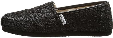 b528dcb8a1cb9 Amazon.com: TOMS Classic Black Crochet Glitter Youth Espadrilles ...
