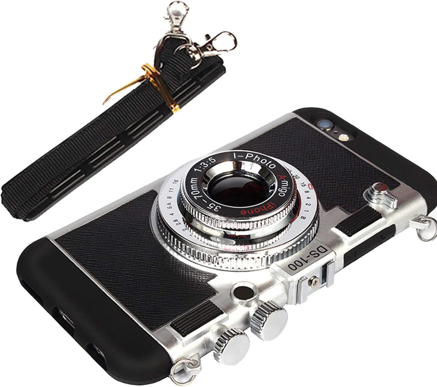 Yagerod New Emily in Paris Phone Case Vintage Camera,Modern 3D Vintage Style Camera Design Silicone Cover with Long Strap Rope Compatible for iPhone 11 Pro MAX//X//XS//MAX Black 6//6S