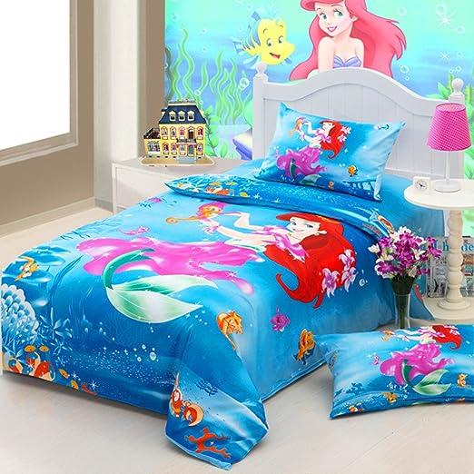 Juego de cama infantil, diseño de la princesa Ariel de 3 piezas funda nórdica, sábana bajera de colcha y funda de almohada 100% algodón, ideal para regalo de calidad alta Screw infantil: