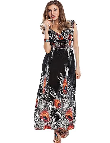 1d74f9da738d Yummy Bee Maxi Dress Plus Size Long Dresses Evening Party Summer Casual  Print Sleeveless 8-20: Amazon.co.uk: Clothing