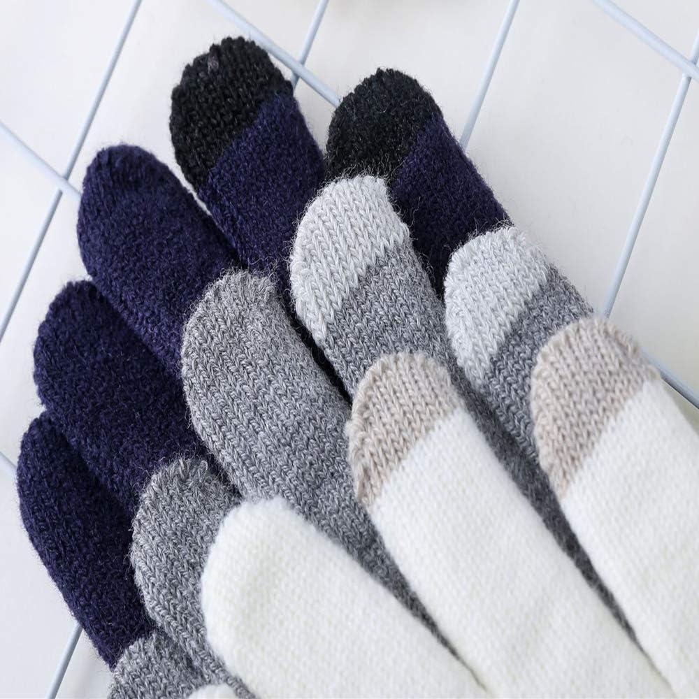 Opromo 2 Pairs Women Men Touchscreen Gloves Lovers Knit Lined Non-slip Gloves