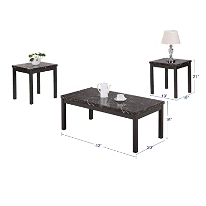 Astounding Amazon Com Coffee End Table Set Modern Faux Marble Coffee Caraccident5 Cool Chair Designs And Ideas Caraccident5Info
