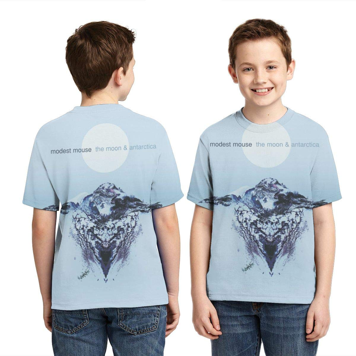 BowersJ Kids Modest Mouse The Moon /& Antarctica Design 3D Printed Short Sleeve Tee for Girls /& Boys Black