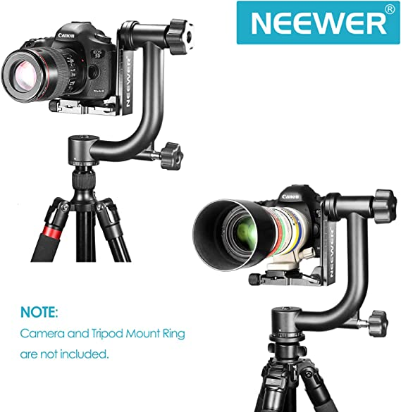 Neewer Professional Heavy Duty Metal 360 Degree Panorama Gimbal Tripod Head With Arca Swiss Standard 1 4 Inch Quick Release Plate And Spirit Level For Digital Slr Cameras Up To 13 6 Kg