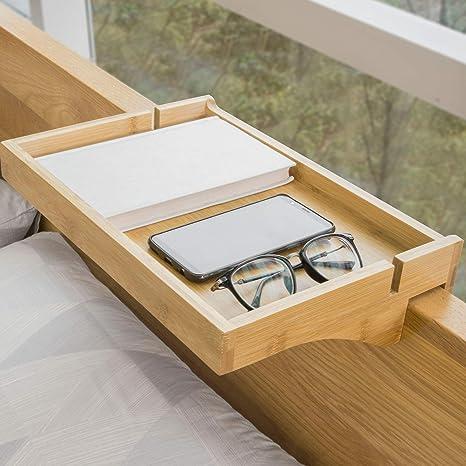 SoBuy NKD01-N,Estante de Noche de bambú Moderno,Mesilla de Noche Flotante Ajustable para Habitaciones Pequeñas,ES