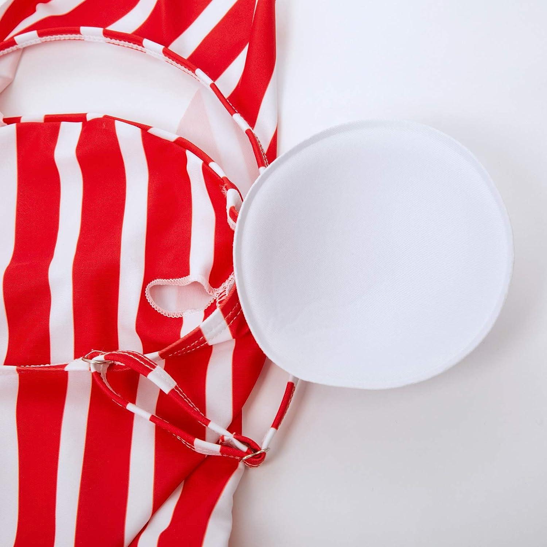 SCARLET DARKNESS Women One Piece Swimsuit Backless Striped Swimwear Bathing Suit