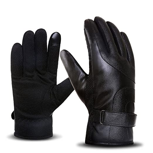 2995b15932007 Image Unavailable. Image not available for. Color: DreamHigh Men's Wool  Lining Black Leather Mittens ...