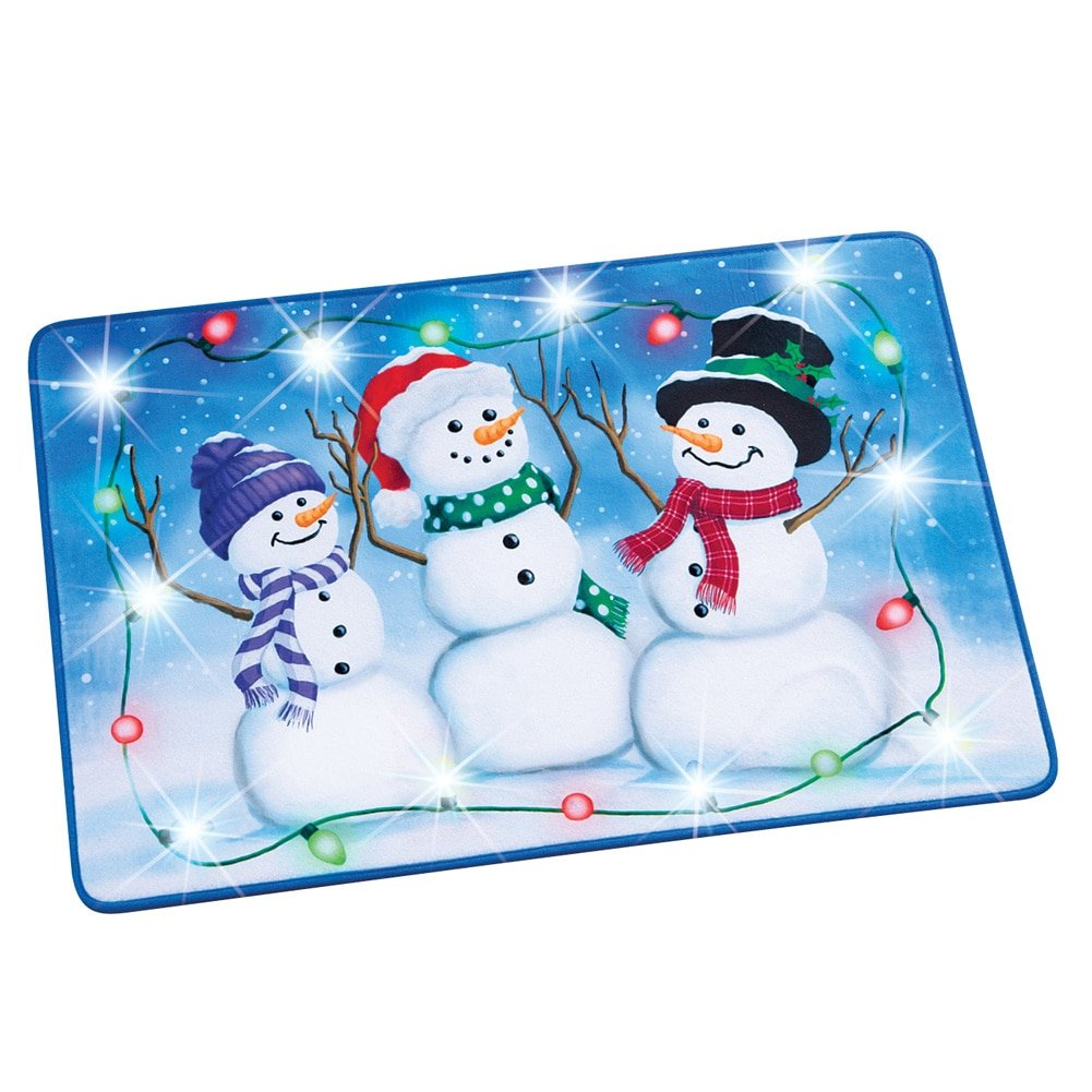 Collections Etc Lighted Snowman Trio Christmas Rug Decoration