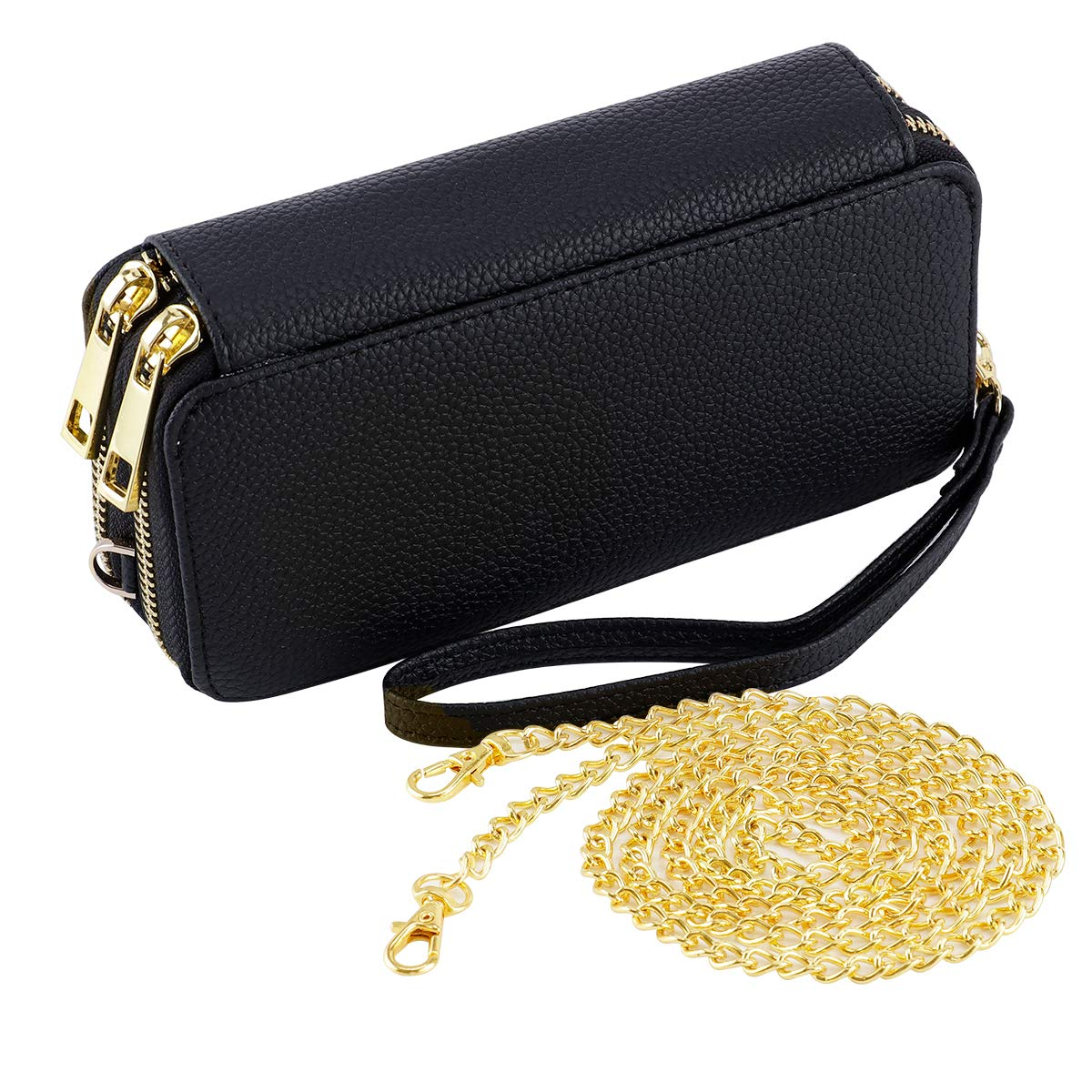 HAWEE Wristlet Clutch Wallet for Women Shoulder Bag with Chain Strap Cell Phone Purse, Black