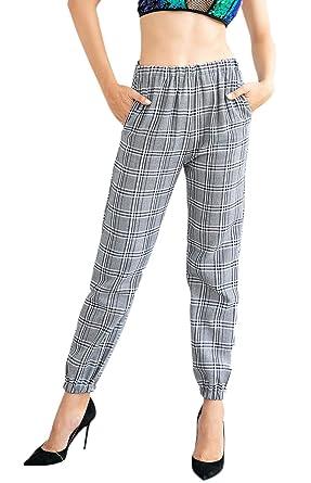 Pantalons Femme Printemps Automne Carreaux Taille Élastique Chic Fashion  Spécial Style Pantalon De Loisirs Taille Haute 7d19b2fc237