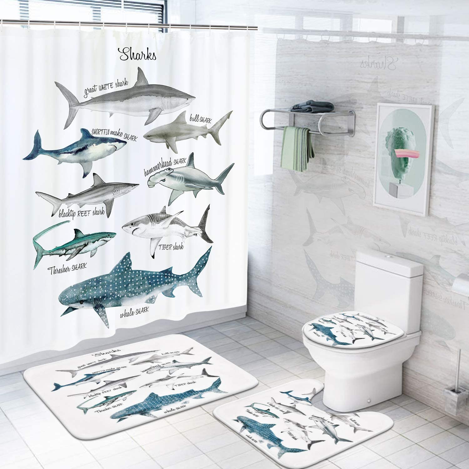 4 Pcs Shark Shower Curtain Sets with Non-Slip Rugs, Toilet Lid Cover and Bath Mat, Fish Sea Life Shower Curtains with 12 Hooks, Durable Waterproof Fabric Marine Themed Bath Curtain Set with Rugs