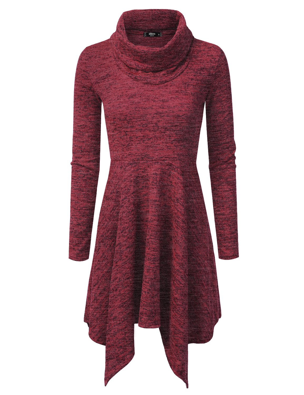 NINEXIS Women's Heathered Cowl Neck Handkerchief Hem Sweater Dress BURGUNDY 3XL
