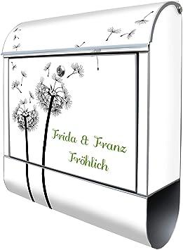 Gr/ö/ße 39x47x14cm inkl A4 Einwurf 2 Schl/üssel Banjado Design Briefkasten personalisiert mit Motiv Eule Montagematerial Stahl pulverbeschichtet mit Zeitungsrolle