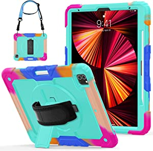 Herize iPad Pro Case 12.9 4th Generation with Screen Protector | 3 Layer Shockproof Rugged Durable Rubber Protective Case W/Stand Shoulder Strap for iPad 12.9 Inch 2020/2018 SkyBlue Camouflage
