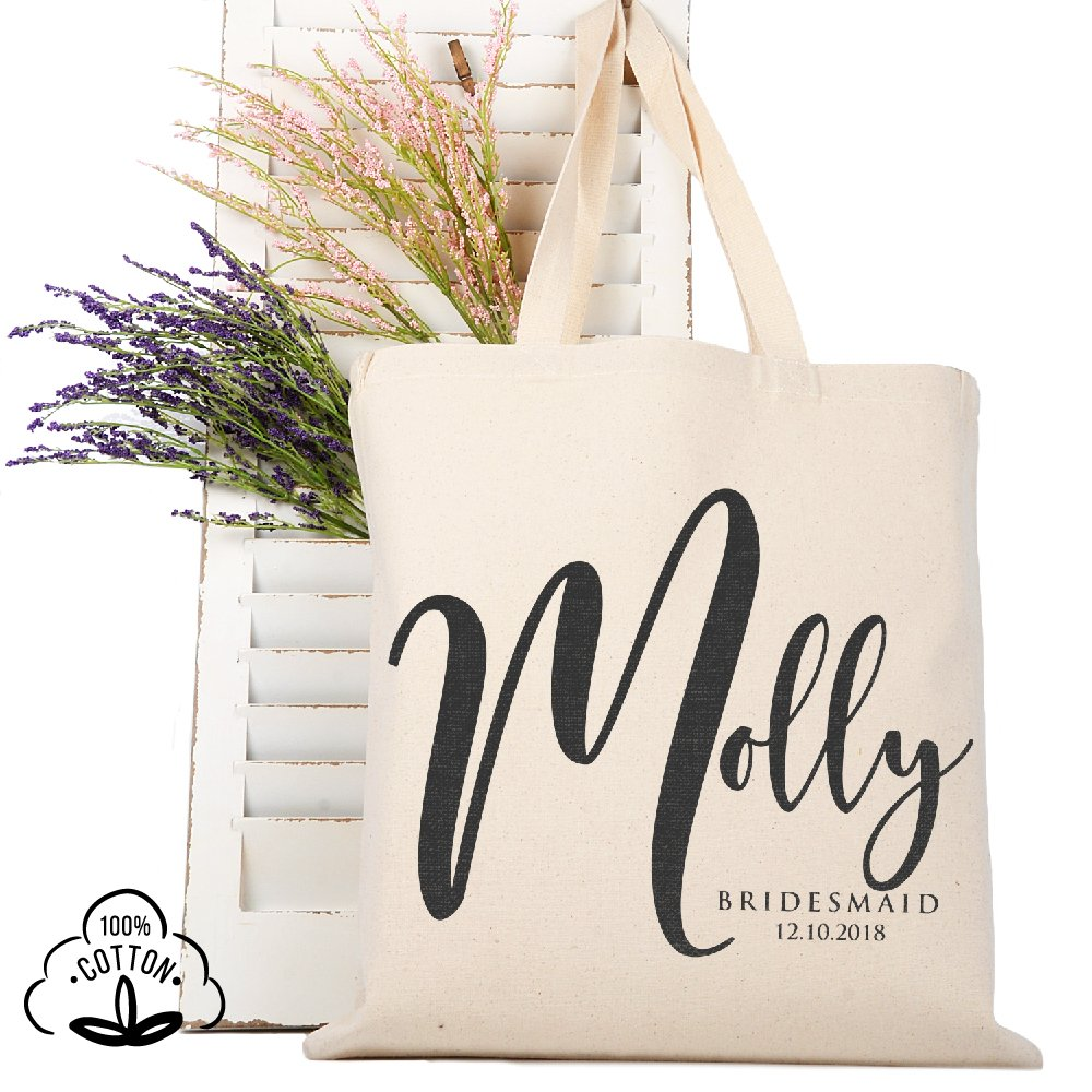 Personalized Tote Bag Natural Cotton Wedding Bridal Party | DSG#7 | set of 3
