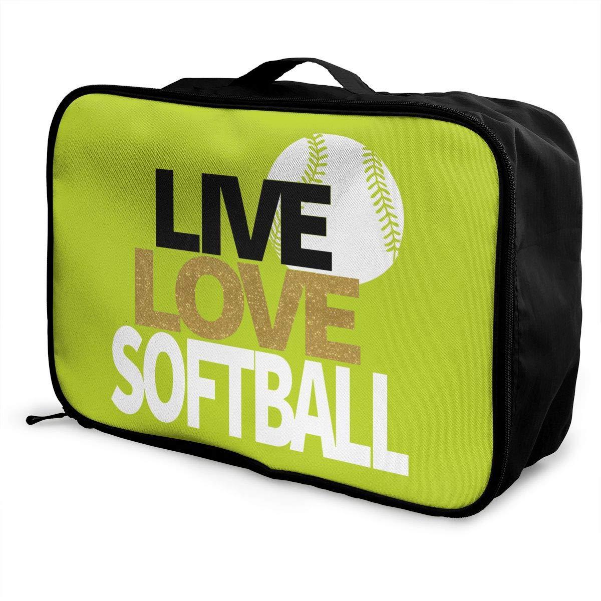 Travel Luggage Duffle Bag Lightweight Portable Handbag Love Softball Large Capacity Waterproof Foldable Storage Tote