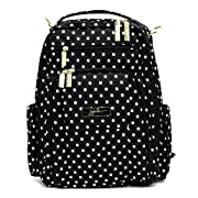 JuJuBe Be Right Back Multi-Functional Structured Backpack/Diaper Bag, Legacy Collection - The Duchess - Black with White Polka Dots