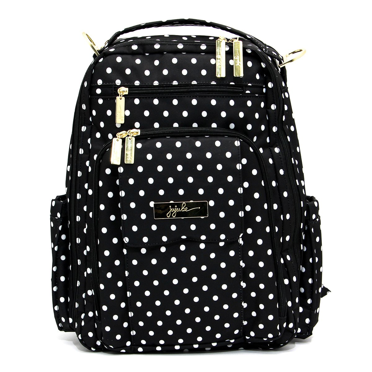 JuJuBe Be Right Back Multi-Functional Structured Backpack/Diaper Bag, Legacy Collection - The Duchess - Black with White Polka Dots by JuJuBe (Image #1)