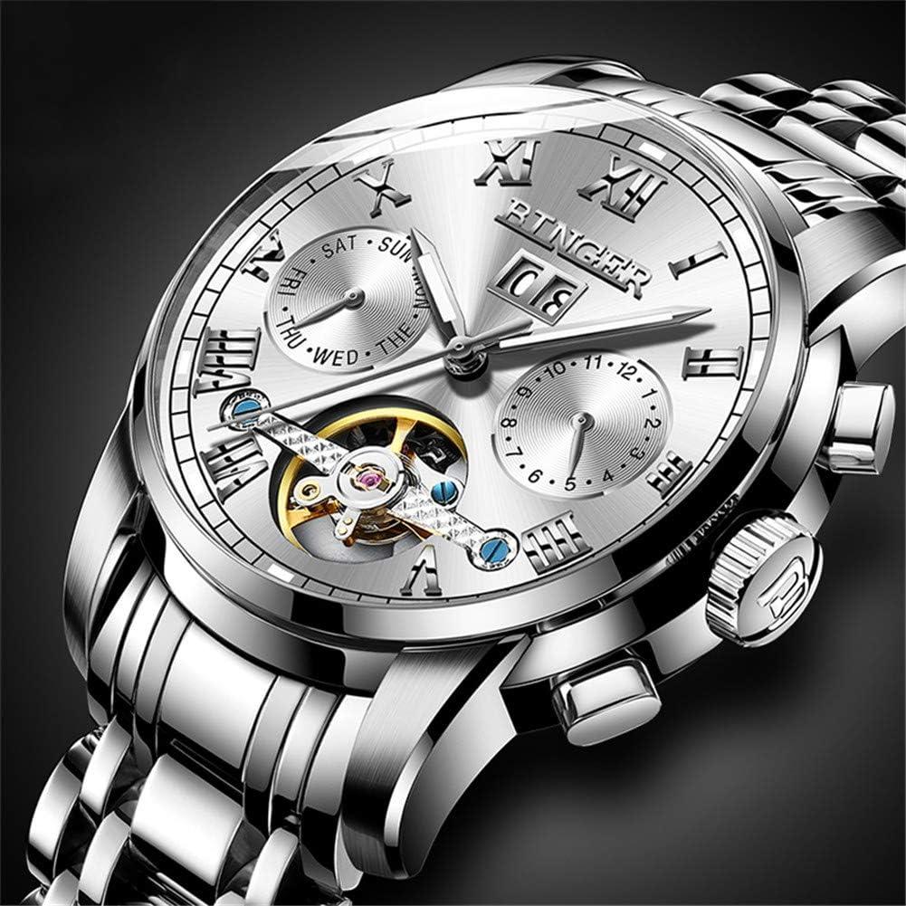 BINGER Suiza Relojes de Acero para Hombre,Zafiro Japón Movimiento Automático Tourbillon mecánico Reloj Casual 8601