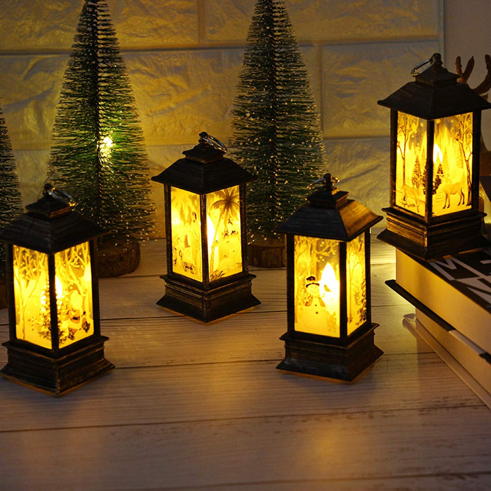 VEZARON 2019 Christmas Outdoor Lights A Christmas Decorations Lights Vintage Xmas Candle with LED Tea Light Lampion Flame Lamp Fireless Candles Lamp Holiday Hanging Ornaments Gifts Decors