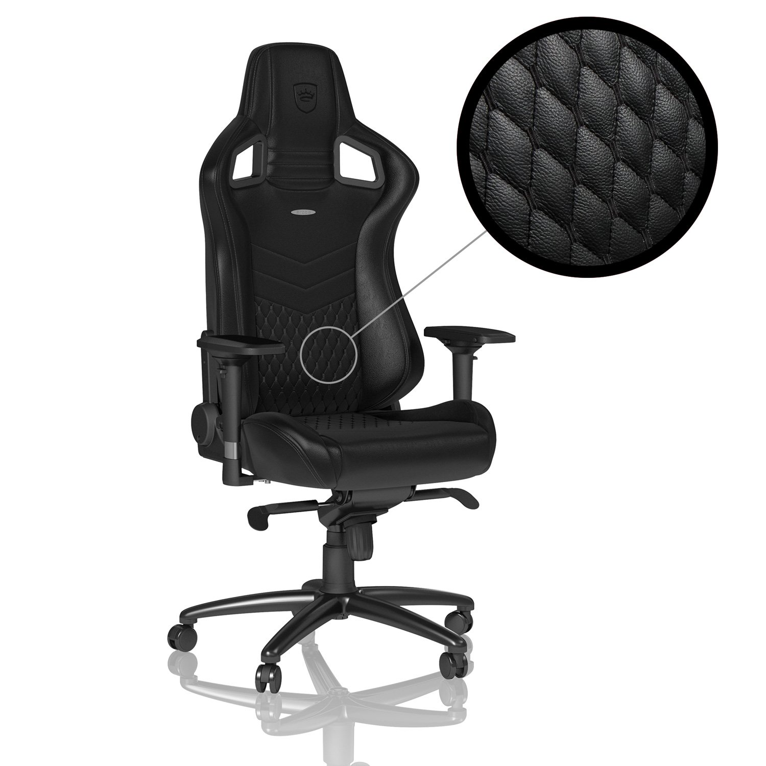 noblechairs EPIC Real Leather - Black - Gaming Chair / Office Chair / Desk Chair