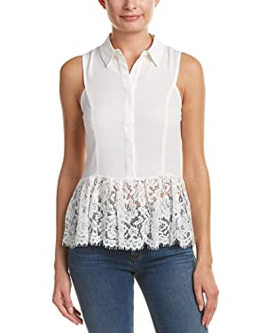 Do+Be Womens Lace-Trim Top, M, White