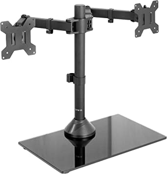 USED Dual Monitor Desk Stand//Mount Free Standing Adjustable 2 Screens up to 27/""