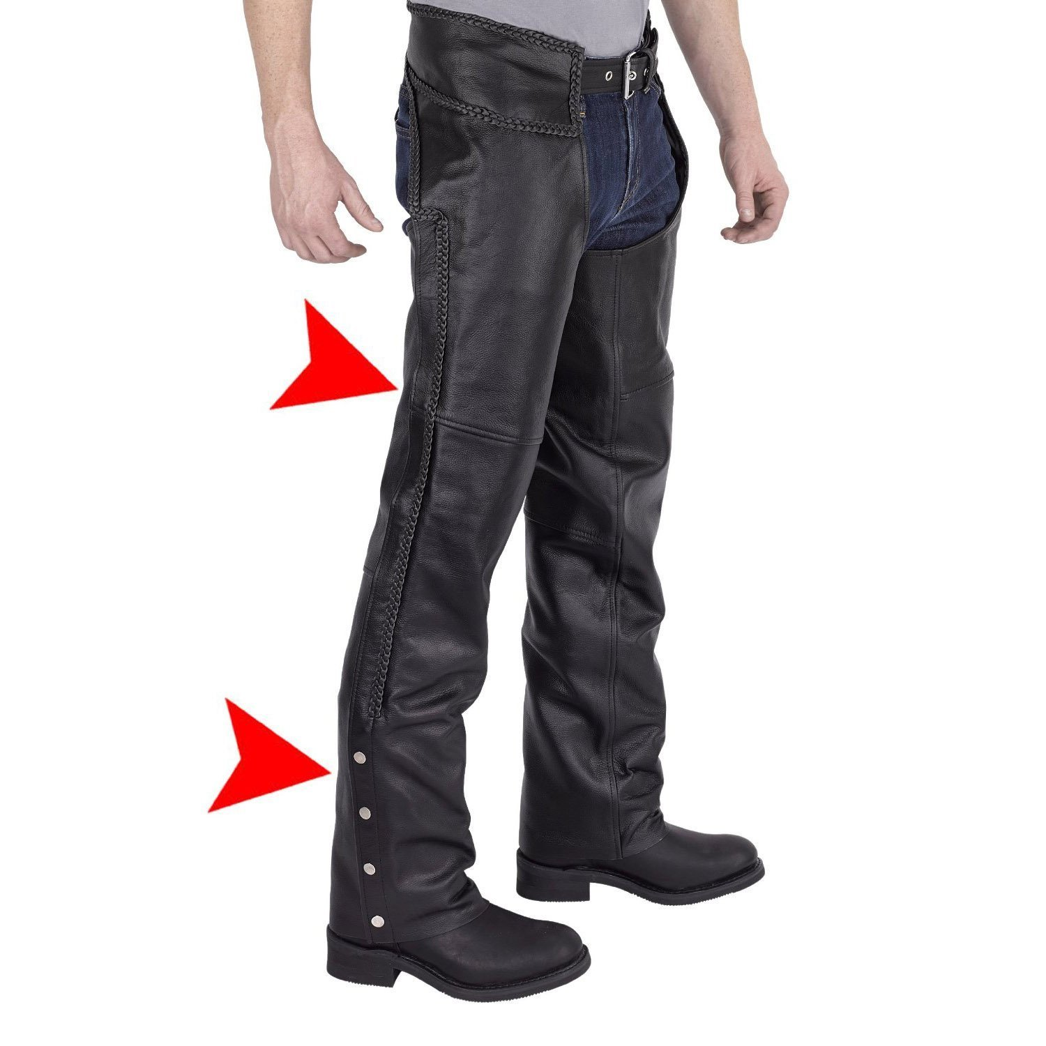 Viking Cycle Leather Chaps - Braided Motorcycle Leather Chaps (3X-Large)