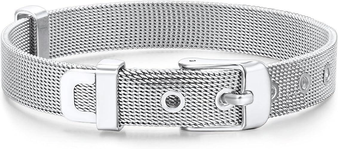 Edelstahlarmband Modern Damen Edelstahl silber Armband 16-19 cm