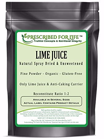 Lime Juice Powder - Spray Dried & Unsweetened Lime Juice - Reconstitute  Ratio 1:2 - ING: Organic