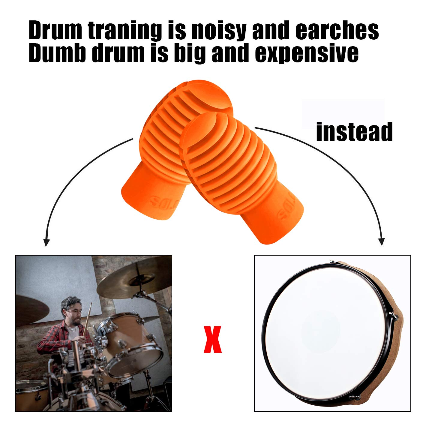Fanxieast Practice Pad Mute Drum Sustituto Dampener Silicone Drumstick Silent Practice Tips Accesorio de percusi/ón Mute Reemplazo Instrumentos musicales Accesorio 4 PC, Gris