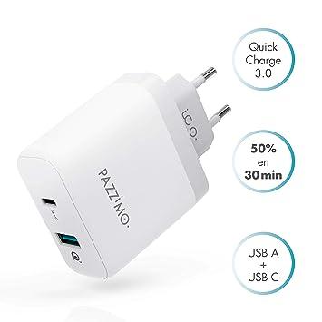 PAZZiMO Cargador Quick Charge 3.0 Blanco con USB Tipo A y USB Tipo C, Cargador rápido, Ligero y Compacto con 33W, Cargador para Samsung, Huawei, Sony, ...