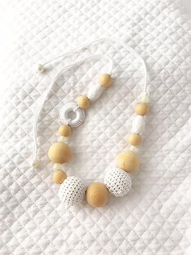 Nursing Halskette Kette Führt Schnuller Mit Perlen Holz Und