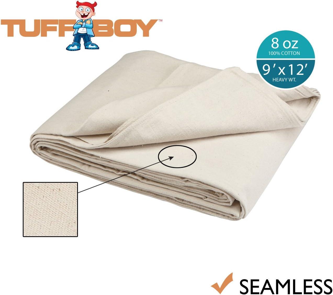 Tuff Boy Cotton Canvas Drop Cloth, Seamless, 9 x 12 Feet, 8 oz