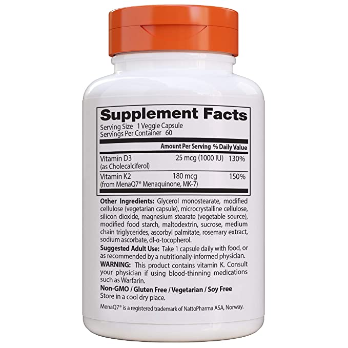 Doctors Best Vitamina Natural K2 Mk7 Con Menaq7 Plus D3, 180Mcg ...