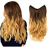 "Creamily 20"" Wavy Curly Brown to Golden Blond Ombre Dip Dye Synthetic Hair Extension Secret Miracle Heat Resistance Hair Wire Hairpieces No Clip for Women"