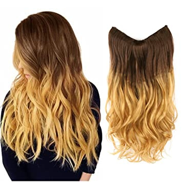 Amazon creamily 20 wavy curly brown to golden blond ombre creamily 20quot wavy curly brown to golden blond ombre dip dye synthetic hair extension secret pmusecretfo Gallery